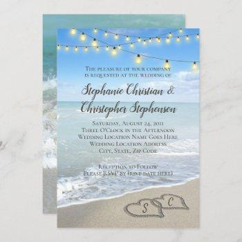 string lights hearts in the sand beach wedding invitation
