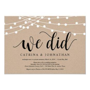 string lights kraft, black font, wedding elopement invitation