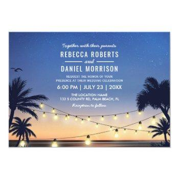 string lights palm beach destination wedding invitation