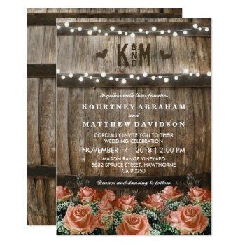 string lights | rustic country barrel wedding invitation