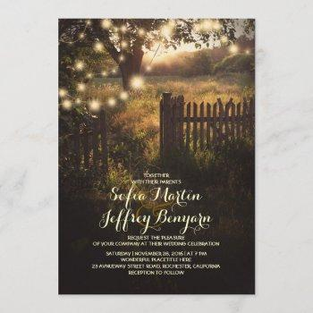 string lights rustic country wedding invitation