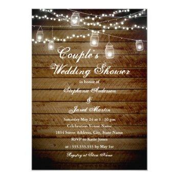 string lights rustic couples wedding shower card