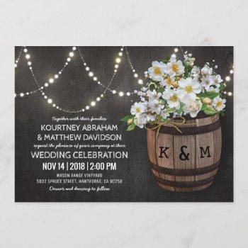 string lights rustic vineyard white floral wedding invitation