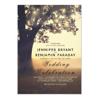 string lights tree evening sunset rustic wedding invitation