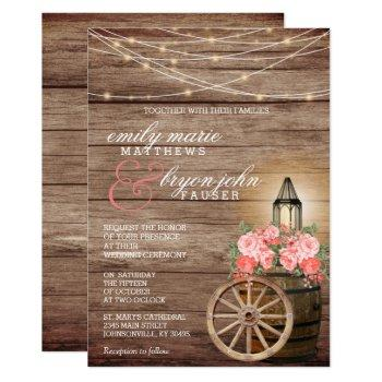 string lights, wood barrel and coral flowers invitation
