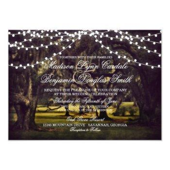 string of lights rustic oak tree wedding invites