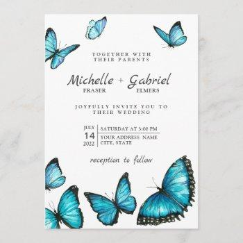 stylish blue watercolor butterflies modern wedding invitation