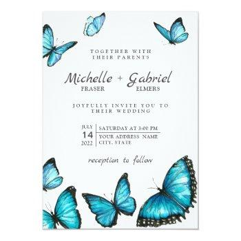 stylish blue watercolor butterflies modern wedding invitation