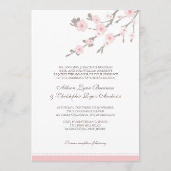 stylish pink cherry blossoms wedding invitation