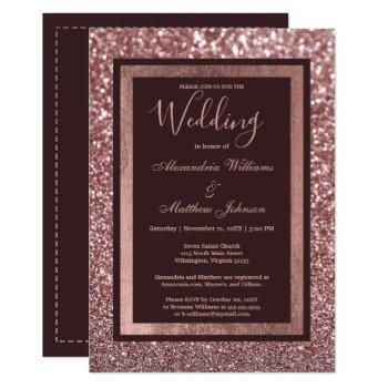 stylish rose gold burgundy glitter wedding invitation