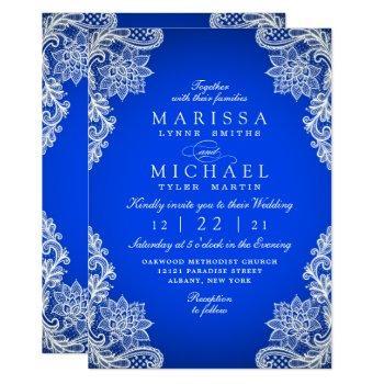 stylish royal blue floral lace modern wedding invitation