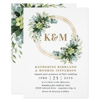 succulent eucalyptus elegant boho greenery wedding invitation