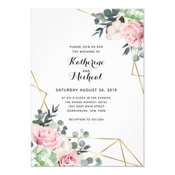 succulent floral geometric wedding invitation