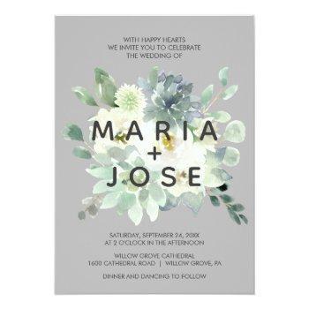 succulent greenery gray wedding invitation