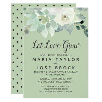 succulent greenery let love grow wedding invitation