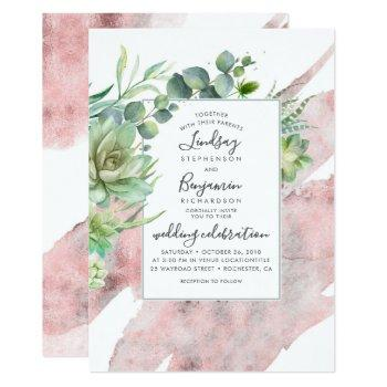 succulents and rose gold watercolor wedding invitation