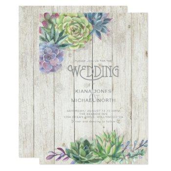 succulents and rustic wood wedding id515 invitation