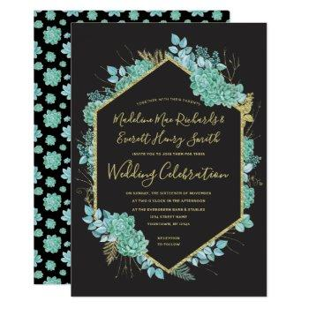 succulents gold frame any color wedding invitation