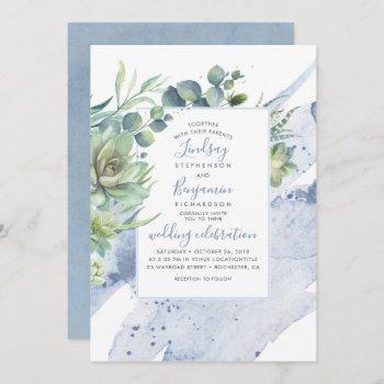 succulents greenery dusty blue elegant wedding invitation