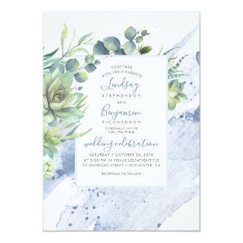 Small Succulents Greenery Dusty Blue Elegant Wedding Invitation Front View