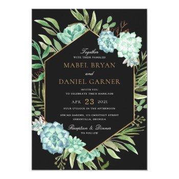 succulents greenery geometric gold frame wedding invitation