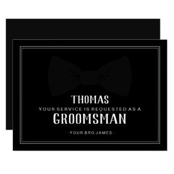 suit up groomsman card - black on black tie