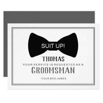 suit up groomsman card - black tie grey