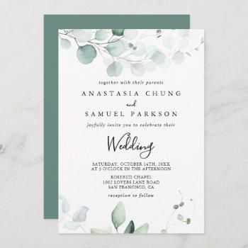 summer green eucalyptus front & back wedding invitation