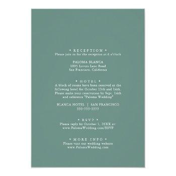 Small Summer Green Eucalyptus Front & Back Wedding Invitation Back View