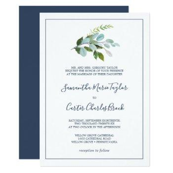 summer greenery formal wedding invitation