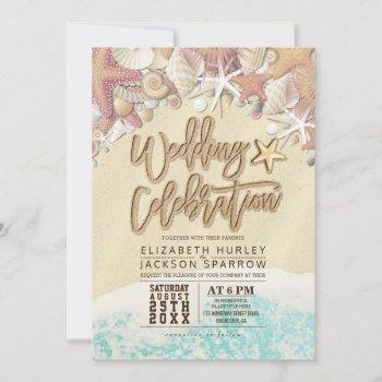 summer sandy beach wedding bridal shower starfish thank you card