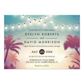 summer string lights palm tree outdoor wedding invitation