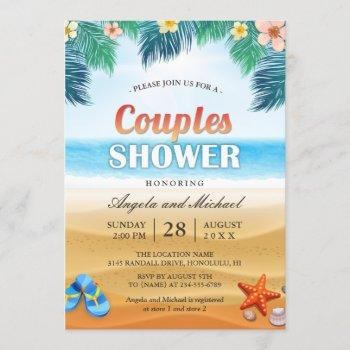 summer tropical beach couples wedding shower invitation