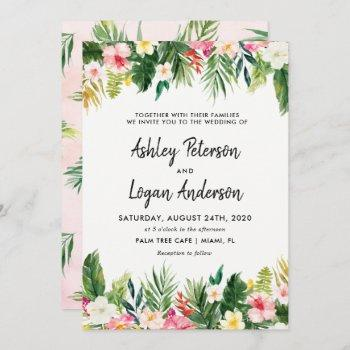 summer tropical leaves wedding invitation card