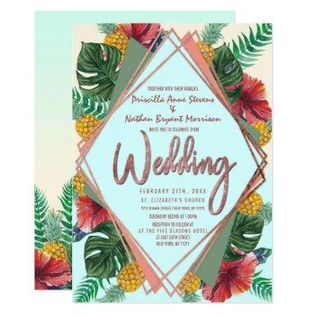 summer tropical pineapple leaves floral wedding invitation