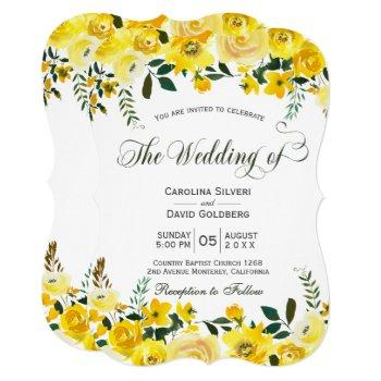 summer yellow rose floral hand lettered wedding invitation