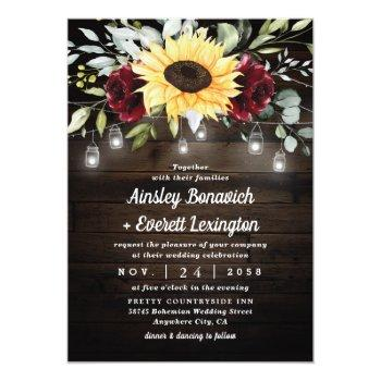 Small Sunflower And Burgundy Red Rose Rustic Wedding Invitation Front View