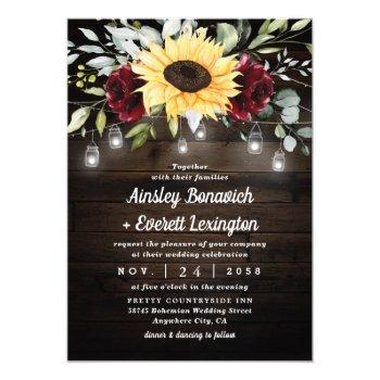 sunflower and burgundy red rose rustic wedding invitation