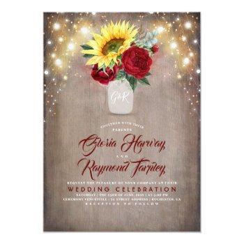Small Sunflower And Burgundy Rose Mason Jar Fall Wedding Invitation Front View