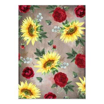 Small Sunflower And Burgundy Rose Mason Jar Fall Wedding Invitation Back View