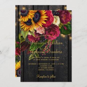 sunflower and burgundy roses rustic fall wedding invitation