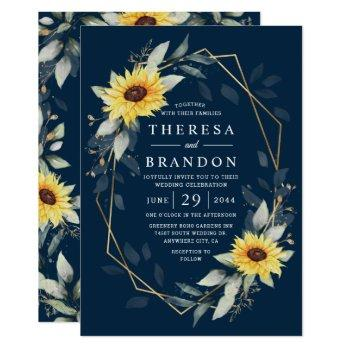 sunflower and navy blue geometric rustic wedding invitation
