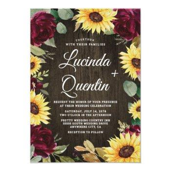 sunflower and red roses rustic barn wood wedding invitation