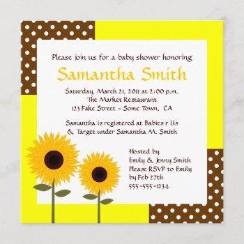 sunflower baby shower invitation - yellow & brown