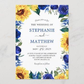 sunflower blue floral border wedding invitation
