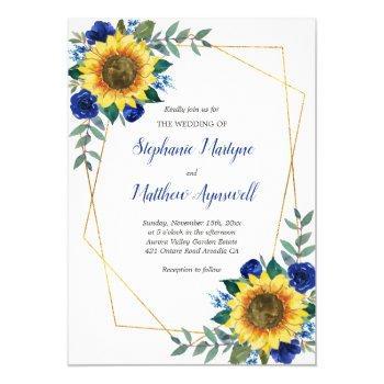 sunflower blue floral geometric wedding invitation