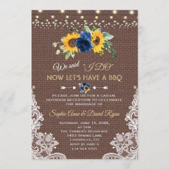 sunflower blue floral lace burlap wedding i do bbq invitation