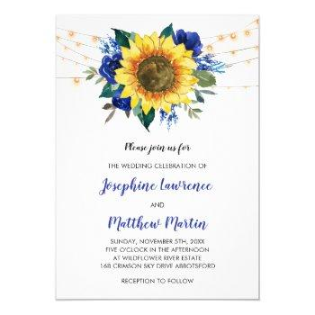 sunflower blue rose floral lights wedding invitation