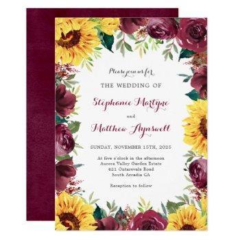 sunflower burgundy floral border fall wedding invitation