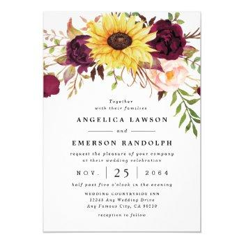 sunflower burgundy red blush peony rose wedding invitation
